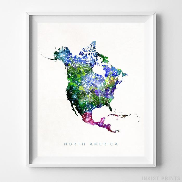 North America Watercolor Map Print - Inkist Prints