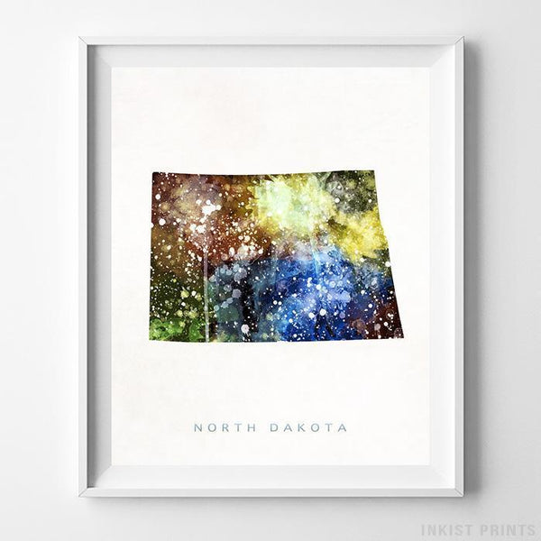 North Dakota Watercolor Map Print-Poster-Wall_Art-Home_Decor-Inkist_Prints