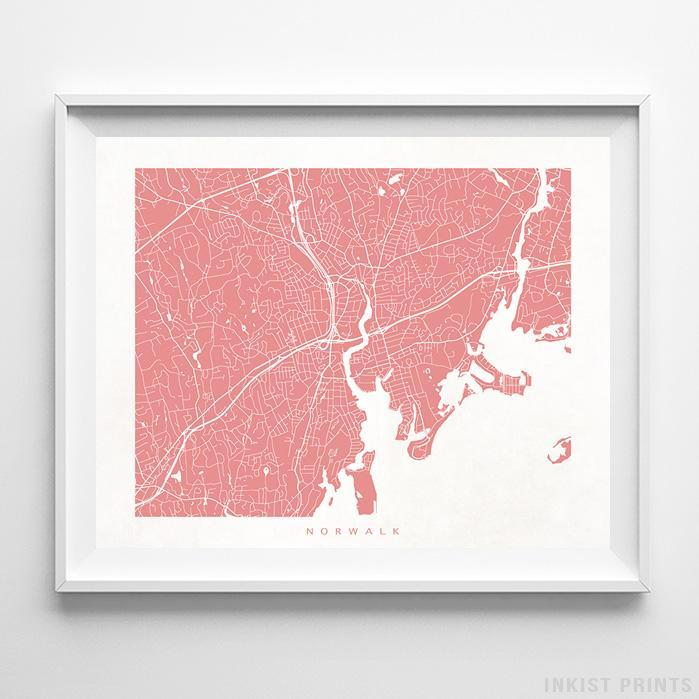 Norwalk, Connecticut Street Map Print - Inkist Prints