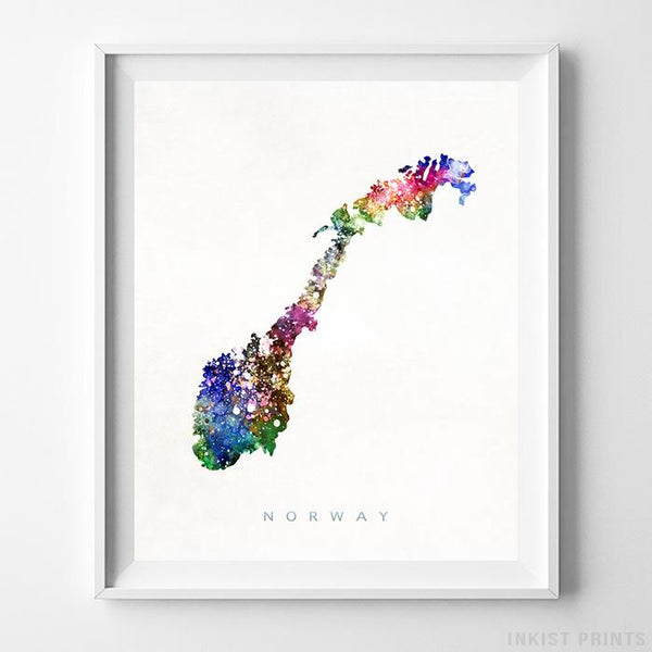 Norway Watercolor Map Print-Poster-Wall_Art-Home_Decor-Inkist_Prints