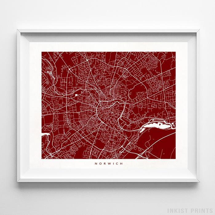 Norwich, England Street Map Horizontal Print-Poster-Wall_Art-Home_Decor-Inkist_Prints