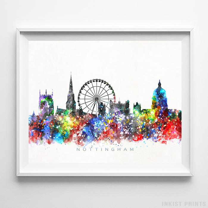 Nottingham, England Skyline Watercolor Print-Poster-Wall_Art-Home_Decor-Inkist_Prints