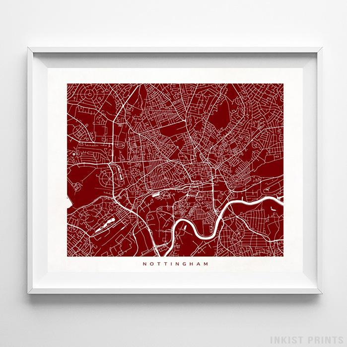 Nottingham, England Street Map Horizontal Print-Poster-Wall_Art-Home_Decor-Inkist_Prints