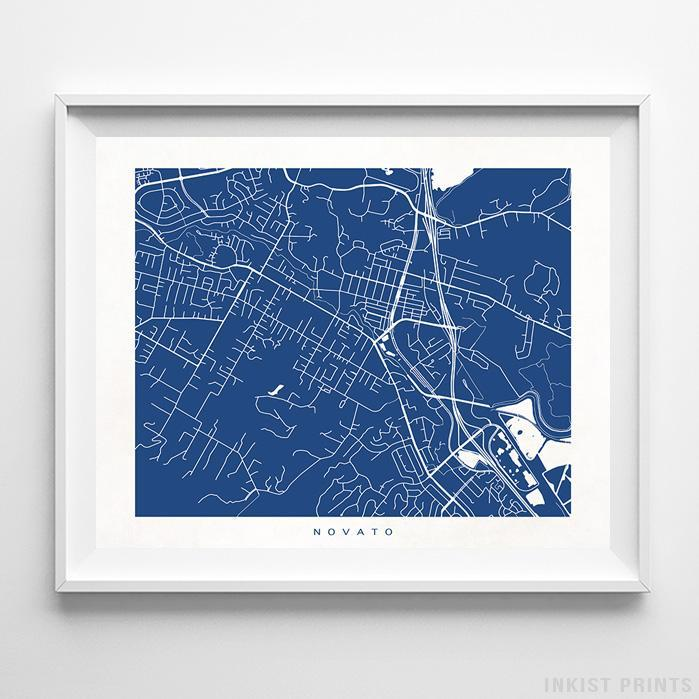 Novato, California Street Map Horizontal Print-Poster-Wall_Art-Home_Decor-Inkist_Prints