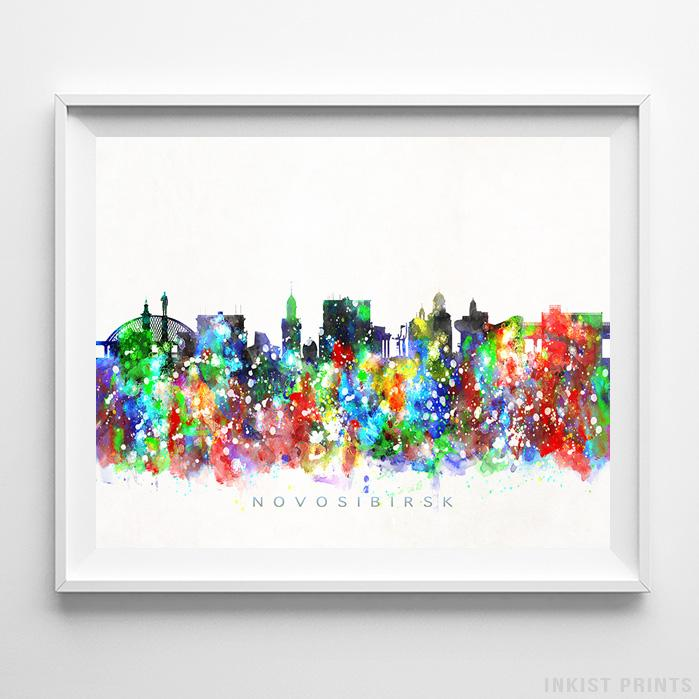 Novosibirsk, Russia Skyline Watercolor Print-Poster-Wall_Art-Home_Decor-Inkist_Prints