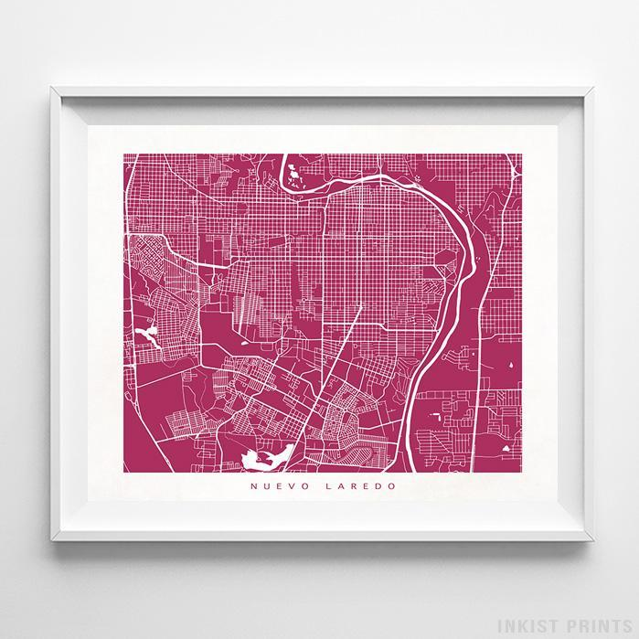Nuevo Laredo, Mexico Street Map Horizontal Print-Poster-Wall_Art-Home_Decor-Inkist_Prints