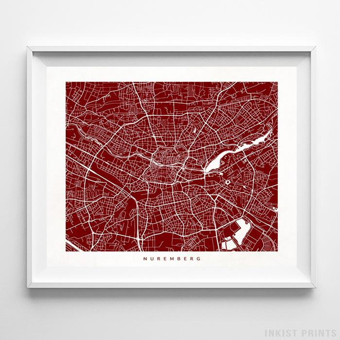 Nuremberg, Germany Street Map Horizontal Print-Poster-Wall_Art-Home_Decor-Inkist_Prints