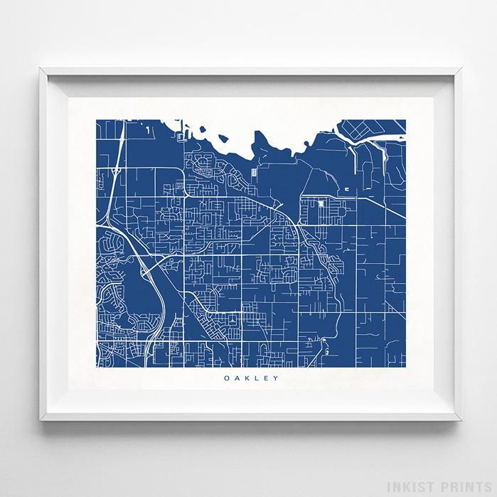 Oakley, California Street Map Horizontal Print-Poster-Wall_Art-Home_Decor-Inkist_Prints