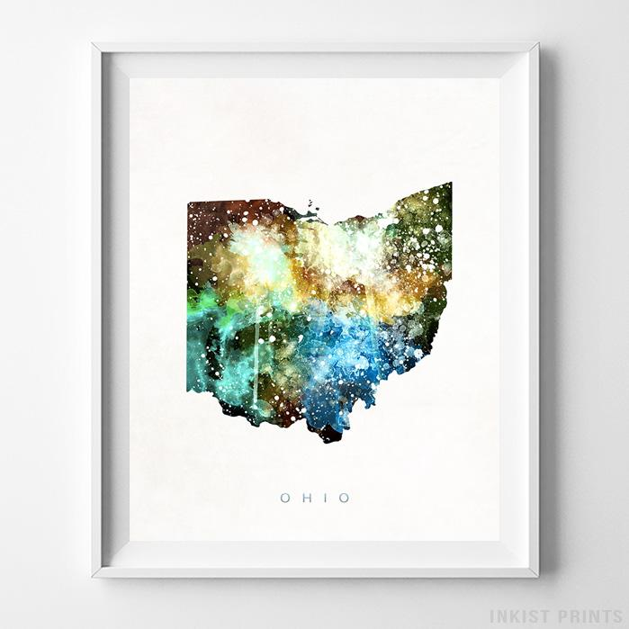 Ohio Watercolor Map Print Wall Art Poster by Inkist Prints
