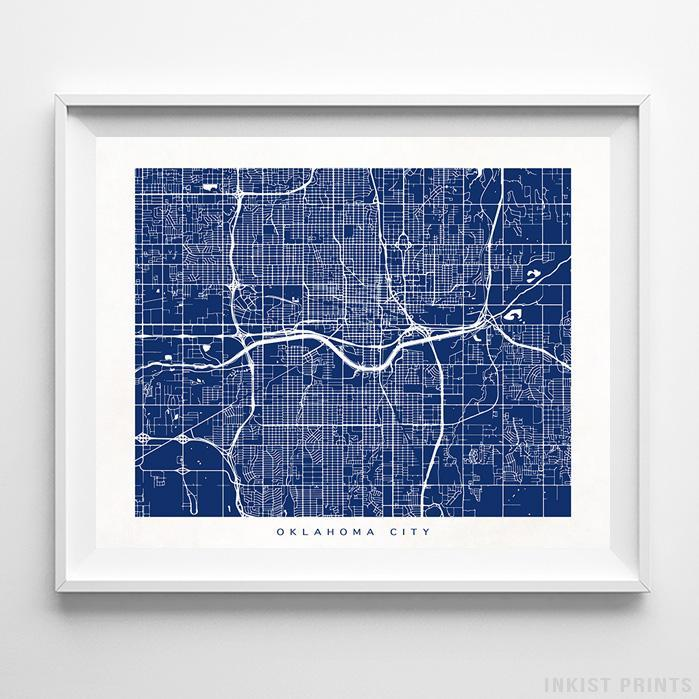 Oklahoma City, Oklahoma Street Map Horizontal Print-Poster-Wall_Art-Home_Decor-Inkist_Prints