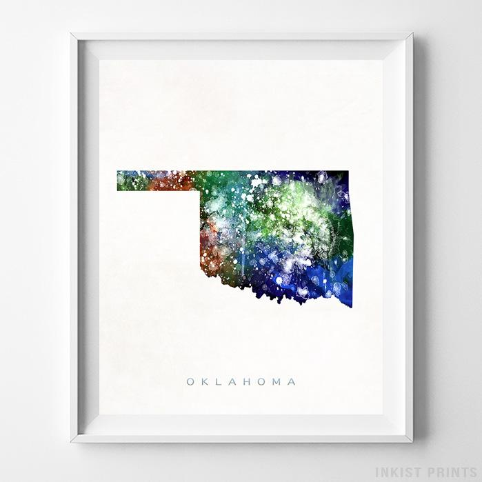 Oklahoma Watercolor Map Print - Inkist Prints
