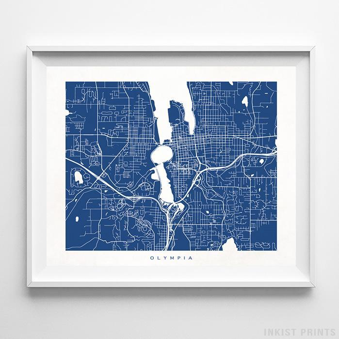 Olympia, Washington Street Map Horizontal Print-Poster-Wall_Art-Home_Decor-Inkist_Prints