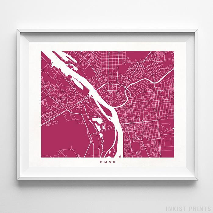 Omsk, Russia Street Map Horizontal Print-Poster-Wall_Art-Home_Decor-Inkist_Prints