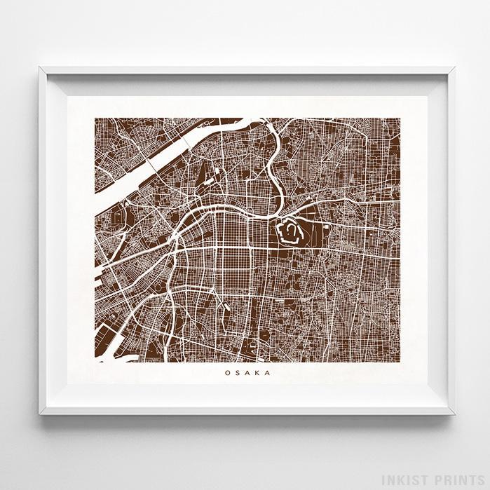 Osaka, Japan Street Map Horizontal Print-Poster-Wall_Art-Home_Decor-Inkist_Prints