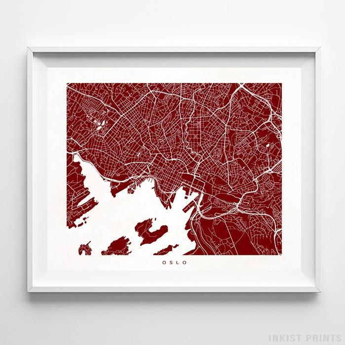 Oslo, Norway Street Map Horizontal Print-Poster-Wall_Art-Home_Decor-Inkist_Prints