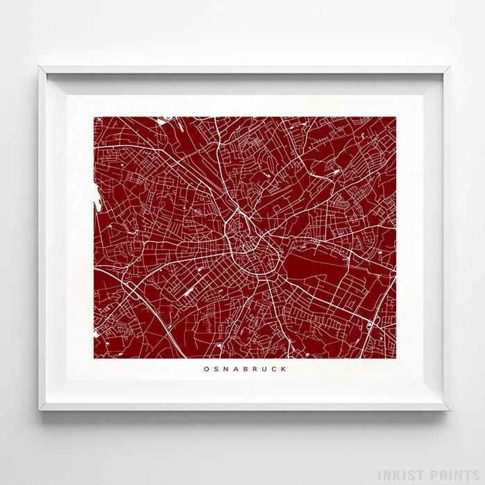 Osnabruck, Germany Street Map Horizontal Print-Poster-Wall_Art-Home_Decor-Inkist_Prints
