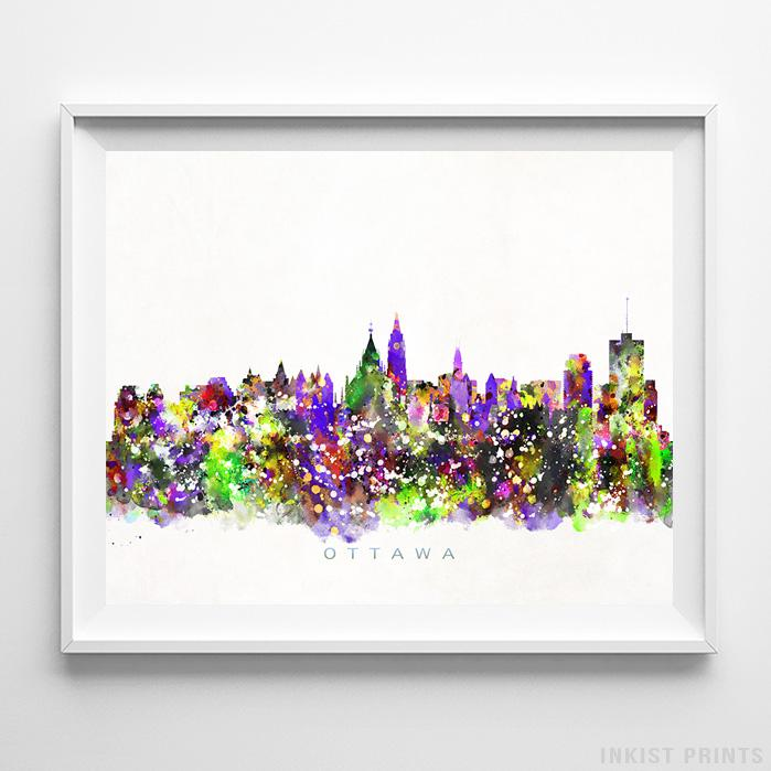 Ottawa, Canada Skyline Watercolor Print-Poster-Wall_Art-Home_Decor-Inkist_Prints