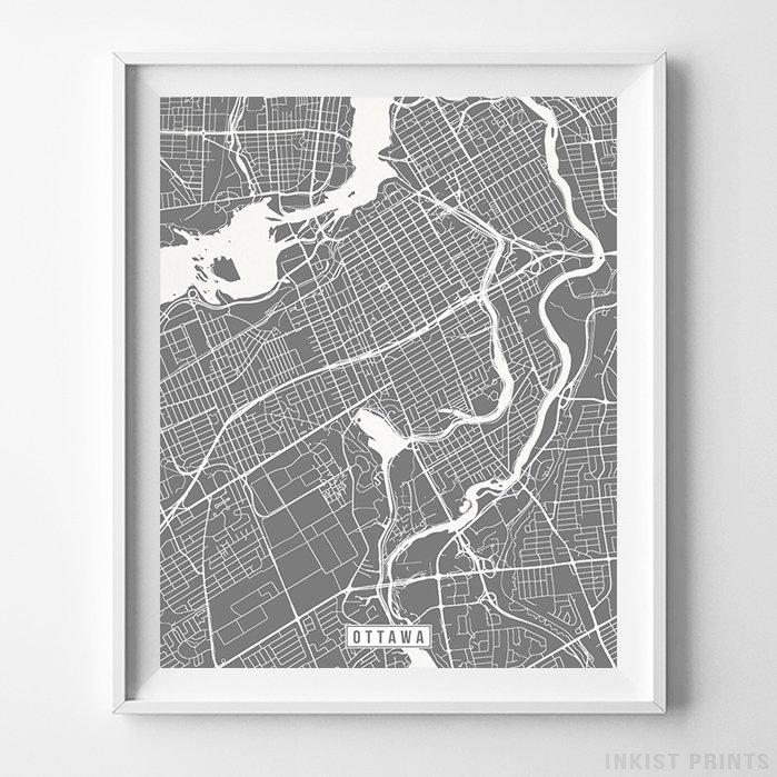 Ottawa, Canada Street Map Vertical Print-Poster-Wall_Art-Home_Decor-Inkist_Prints