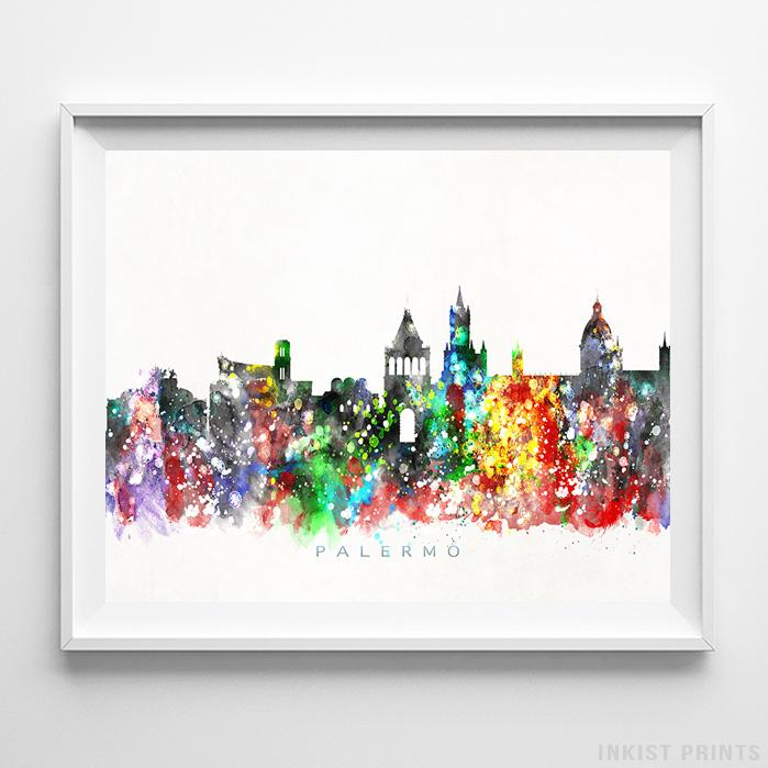 Palermo, Italy Skyline Watercolor Print - Inkist Prints