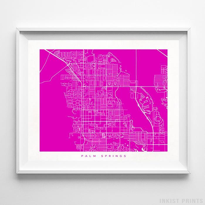 Palm Springs, California Street Map Horizontal Print-Poster-Wall_Art-Home_Decor-Inkist_Prints