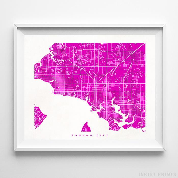 Panama City, Florida Street Map Horizontal Print-Poster-Wall_Art-Home_Decor-Inkist_Prints