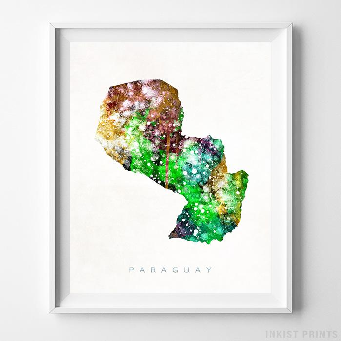 Paraguay Watercolor Map Print - Inkist Prints