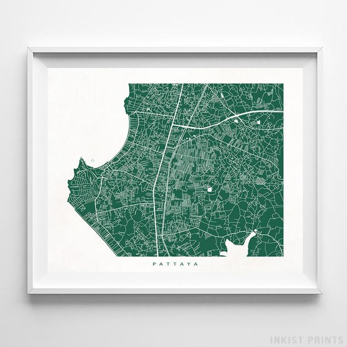 Pattaya, Thailand Street Map Horizontal Print-Poster-Wall_Art-Home_Decor-Inkist_Prints