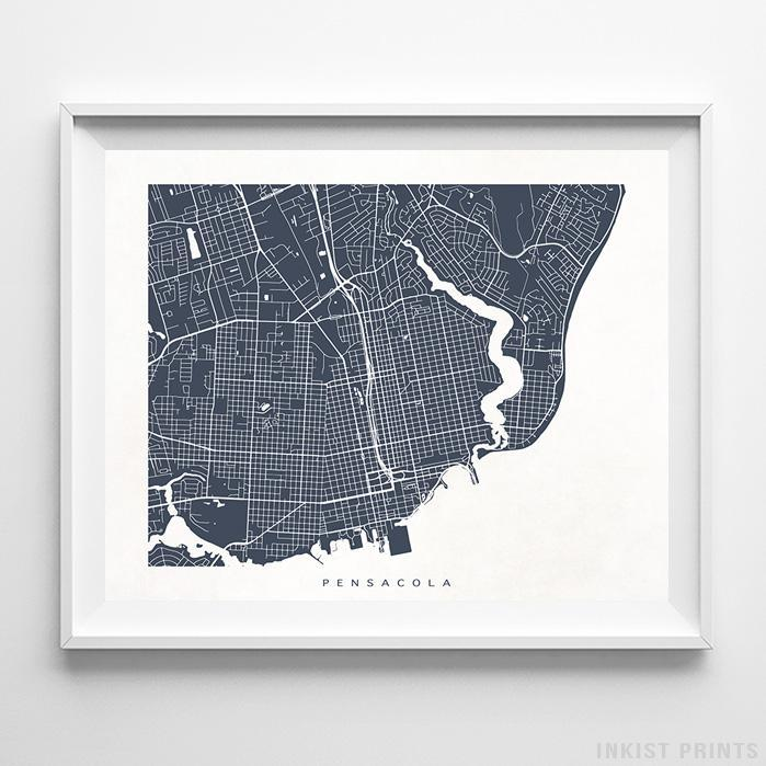 Map Of Pensacola Florida.Pensacola Florida Street Map Print Wall Poster Inkist Prints