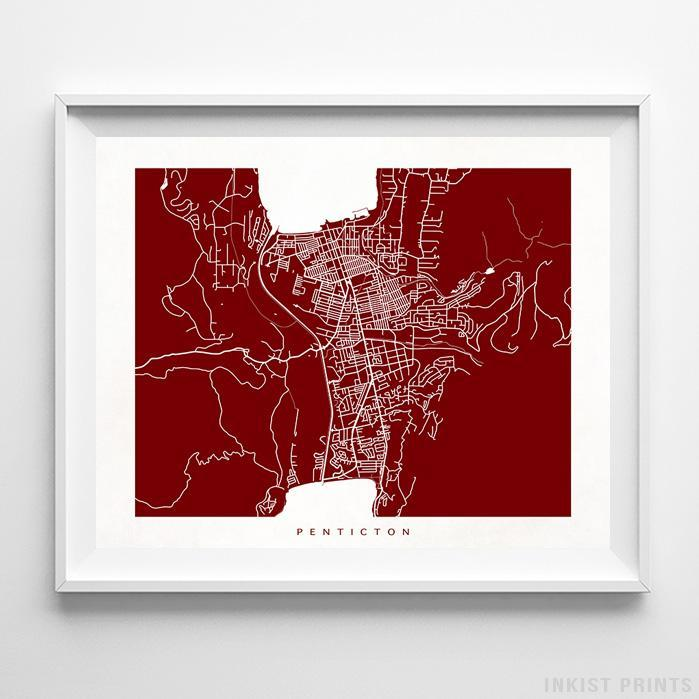 Penticton, Canada Street Map Horizontal Print-Poster-Wall_Art-Home_Decor-Inkist_Prints
