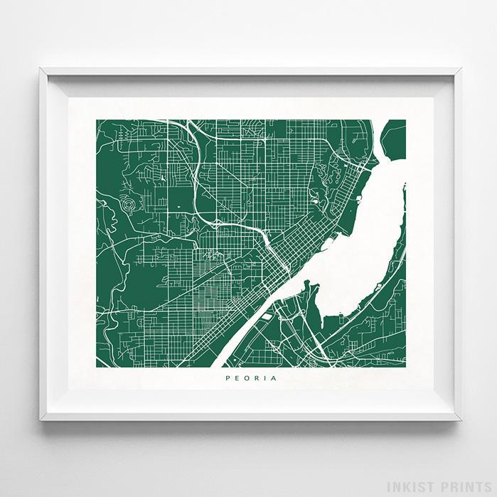 Peoria, Illinois Street Map Horizontal Print-Poster-Wall_Art-Home_Decor-Inkist_Prints