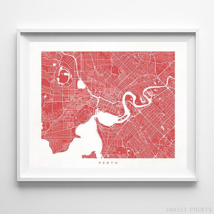 Perth, Australia Street Map Horizontal Print-Poster-Wall_Art-Home_Decor-Inkist_Prints