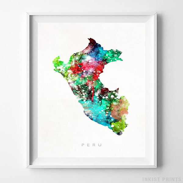 Peru Watercolor Map Print-Poster-Wall_Art-Home_Decor-Inkist_Prints