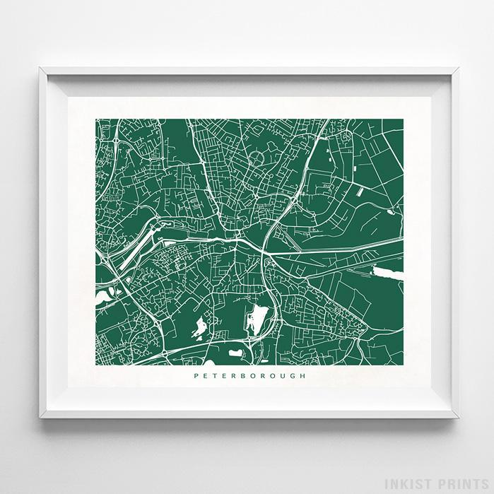 Peterborough, England Street Map Horizontal Print-Poster-Wall_Art-Home_Decor-Inkist_Prints