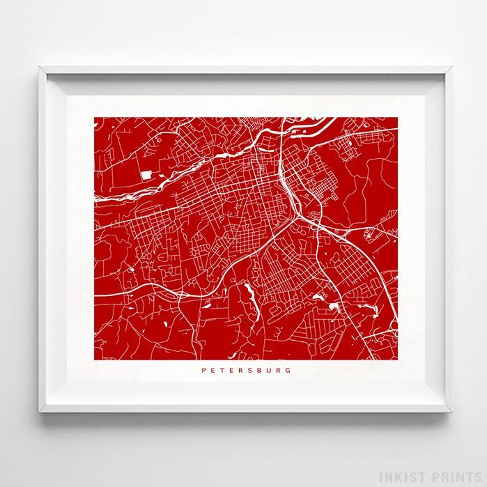 Petersburg, Virginia Street Map Horizontal Print-Poster-Wall_Art-Home_Decor-Inkist_Prints
