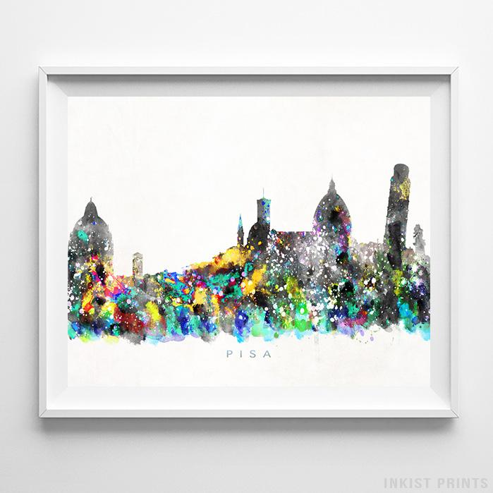 Pisa, Italy Skyline Watercolor Print - Inkist Prints