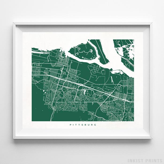 Pittsburg, California Street Map Horizontal Print-Poster-Wall_Art-Home_Decor-Inkist_Prints