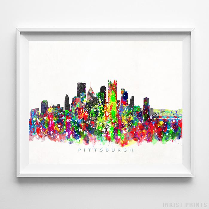 Pittsburgh, Pennsylvania Skyline Watercolor Print-Poster-Wall_Art-Home_Decor-Inkist_Prints