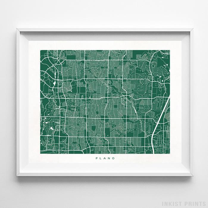 Plano, Texas Street Map Print - Inkist Prints