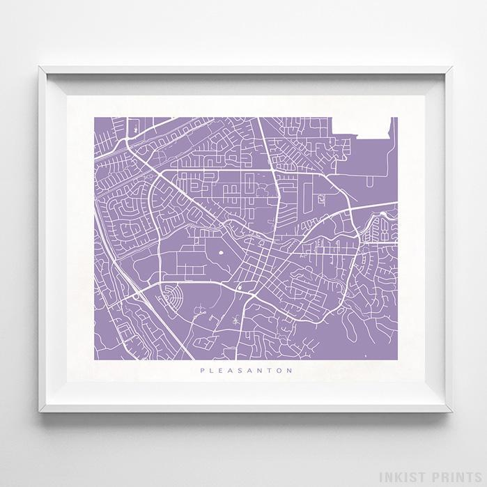 Pleasanton, California Street Map Print - Inkist Prints