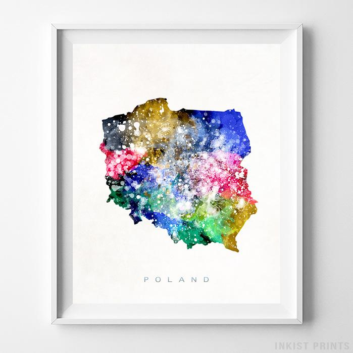 Poland Watercolor Map Print - Inkist Prints