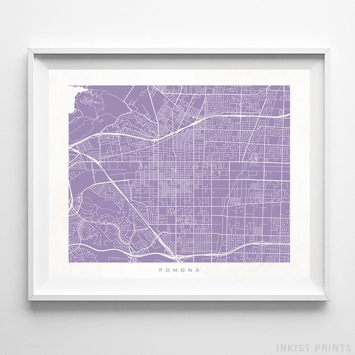 Pomona, California Street Map Horizontal Print-Poster-Wall_Art-Home_Decor-Inkist_Prints