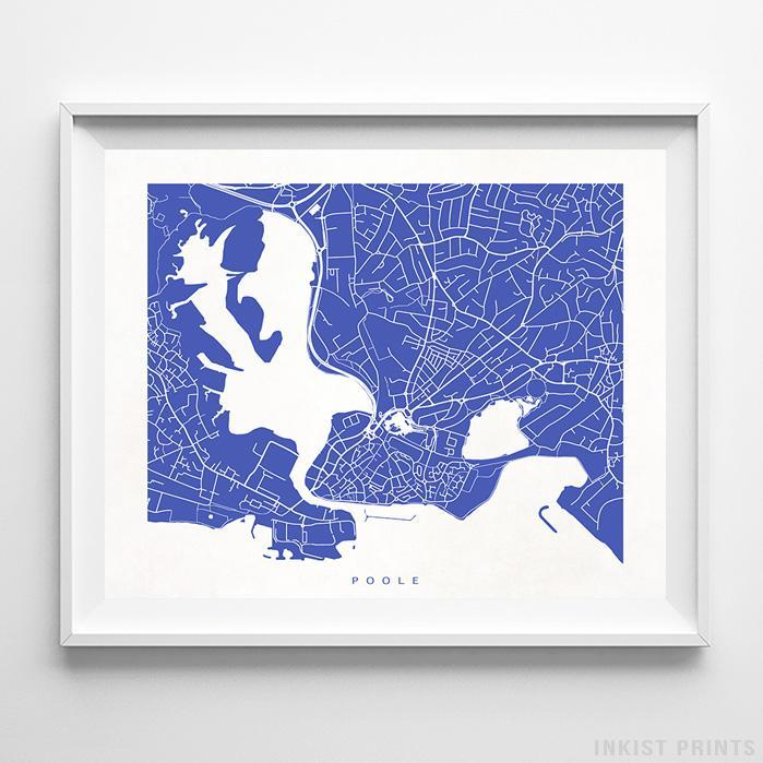 Poole, England Street Map Horizontal Print-Poster-Wall_Art-Home_Decor-Inkist_Prints