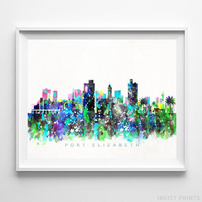 Port Elizabeth, South Africa Skyline Watercolor Print-Poster-Wall_Art-Home_Decor-Inkist_Prints