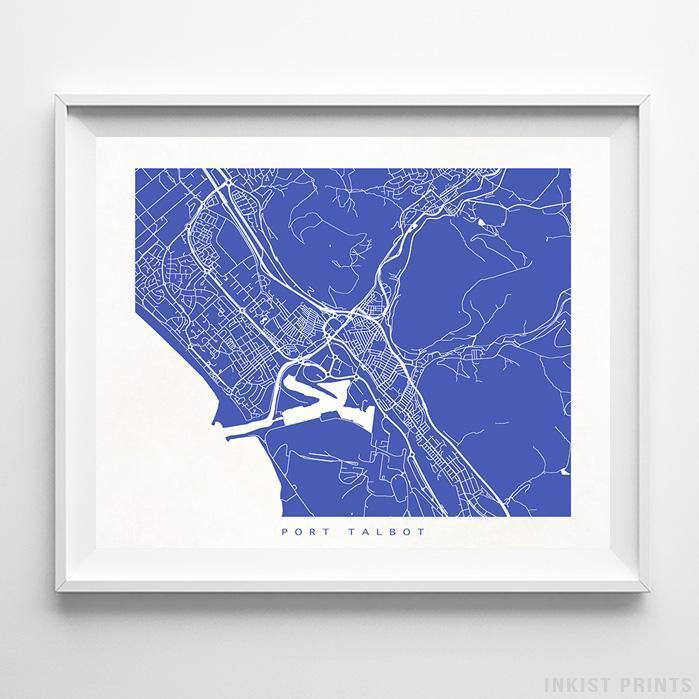 Port Talbot, United Kingdom Street Map Horizontal Print-Poster-Wall_Art-Home_Decor-Inkist_Prints