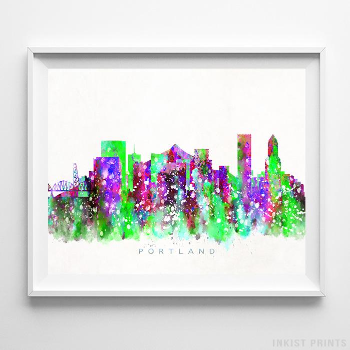 Portland, Oregon Skyline Watercolor Print-Poster-Wall_Art-Home_Decor-Inkist_Prints
