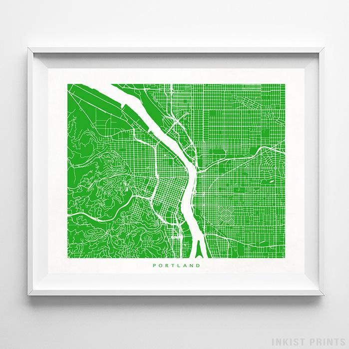 Portland, Oregon Street Map Print - Inkist Prints