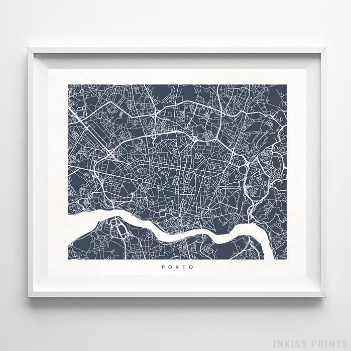 Porto, Portugal Street Map Horizontal Print-Poster-Wall_Art-Home_Decor-Inkist_Prints