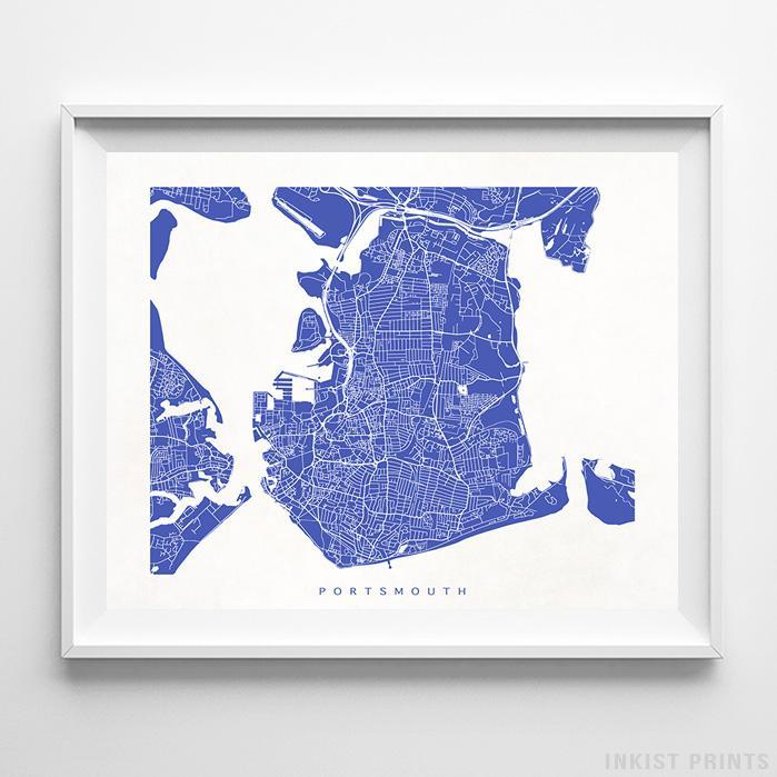 Map Of England Poster.Portsmouth England Street Map Horizontal Print