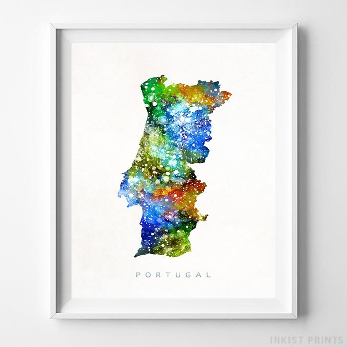 Portugal Watercolor Map Print - Inkist Prints