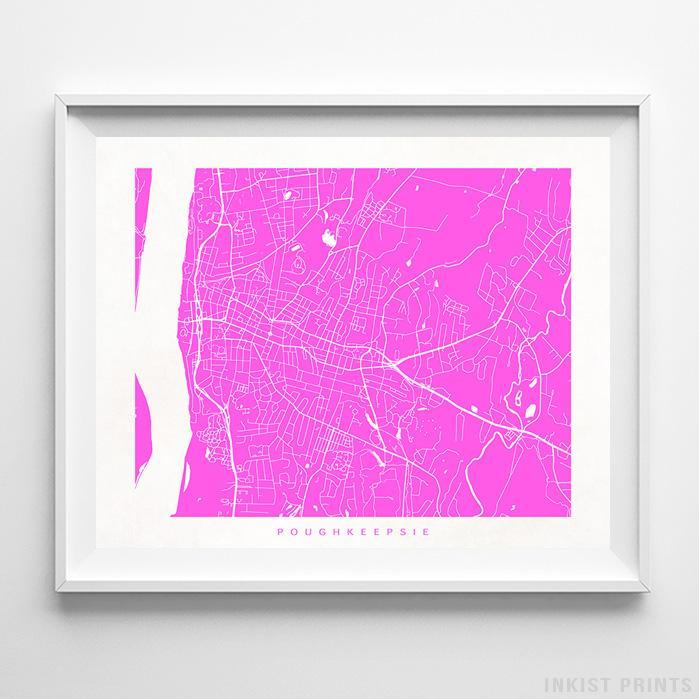 Poughkeepsie, New York Street Map Horizontal Print-Poster-Wall_Art-Home_Decor-Inkist_Prints